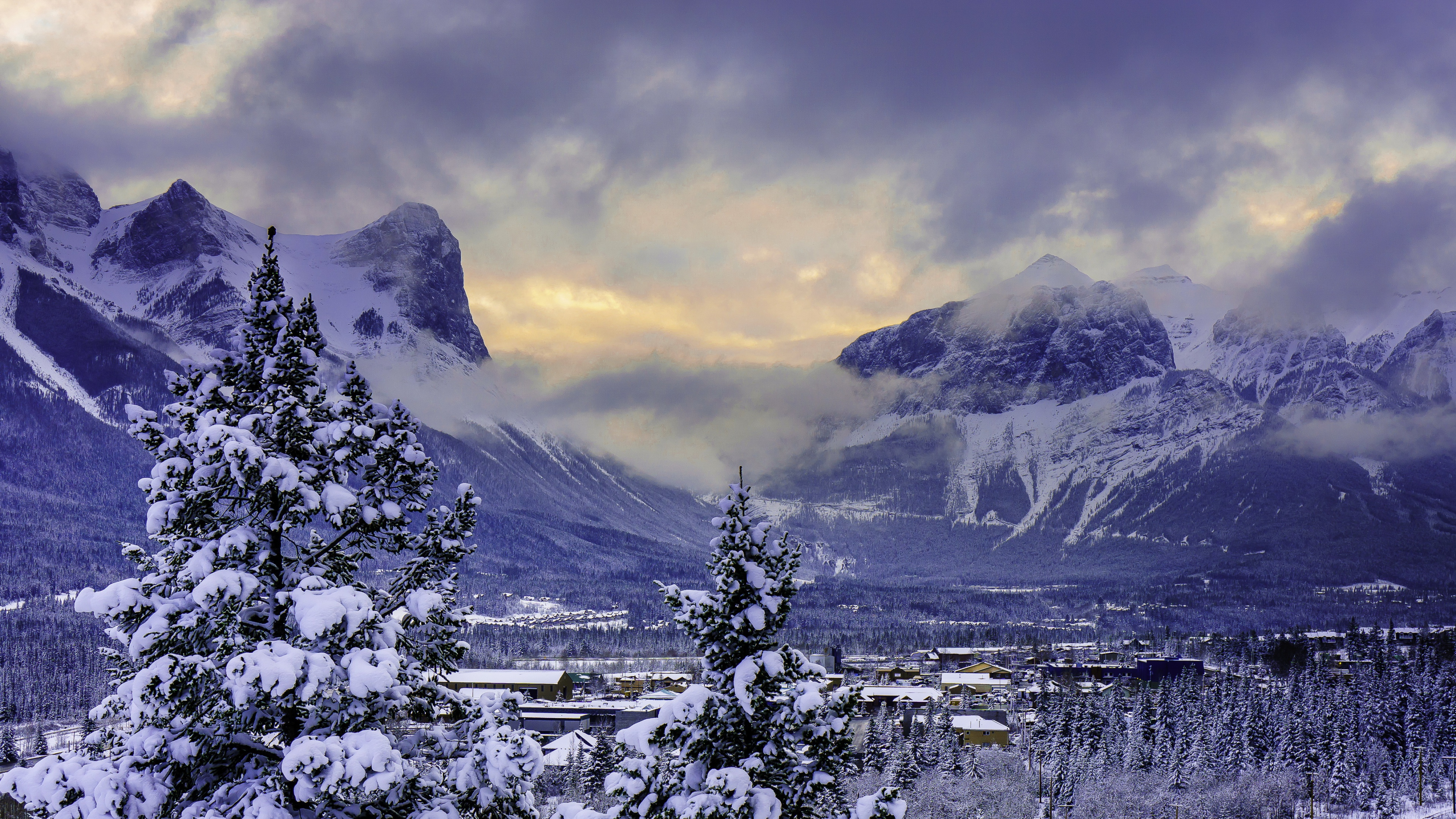 Winter Mountains Background