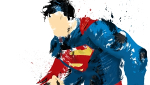 Superman Super Hero Painting White Background Artwork