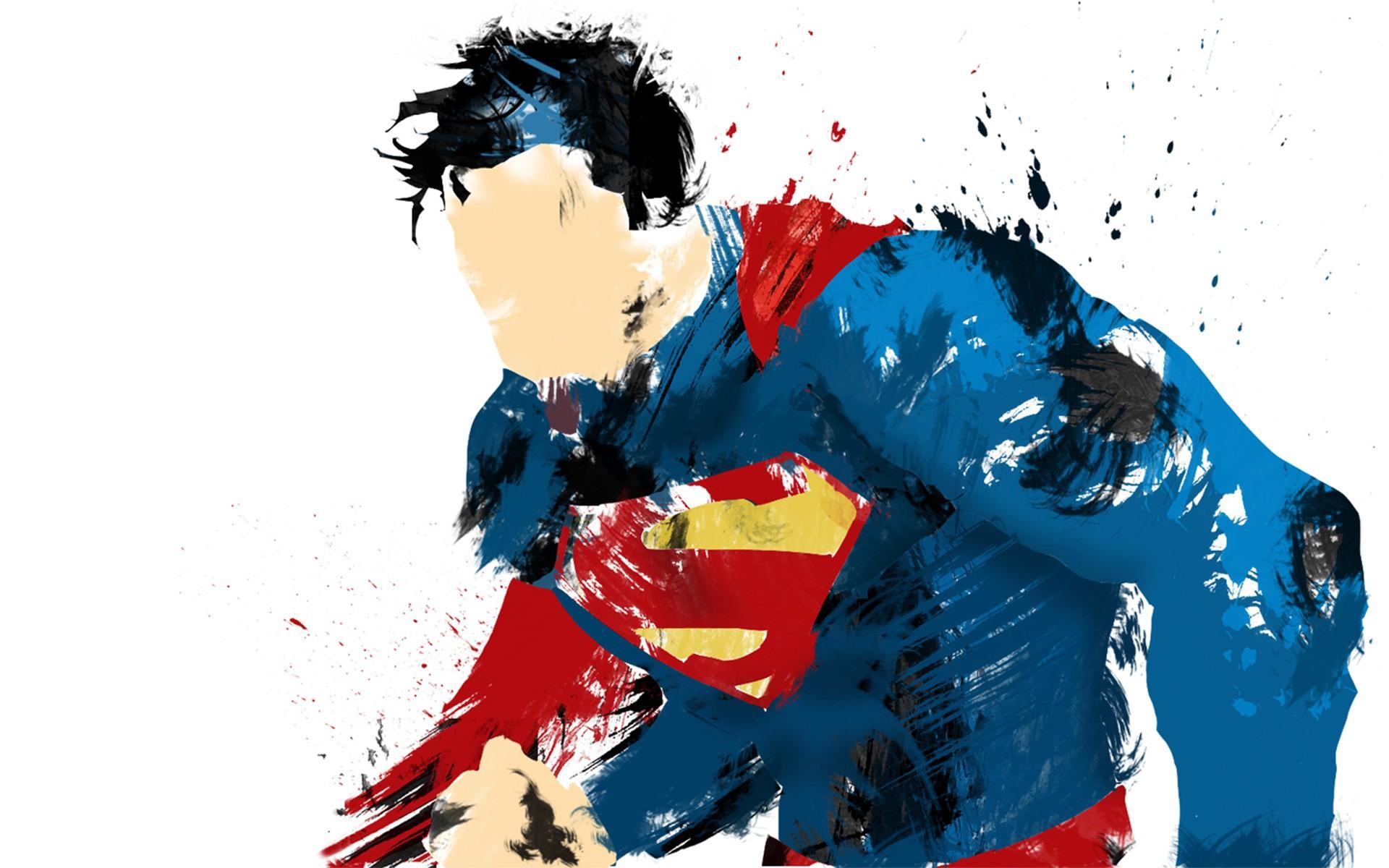 Superman Super Hero Painting White Background Artwork