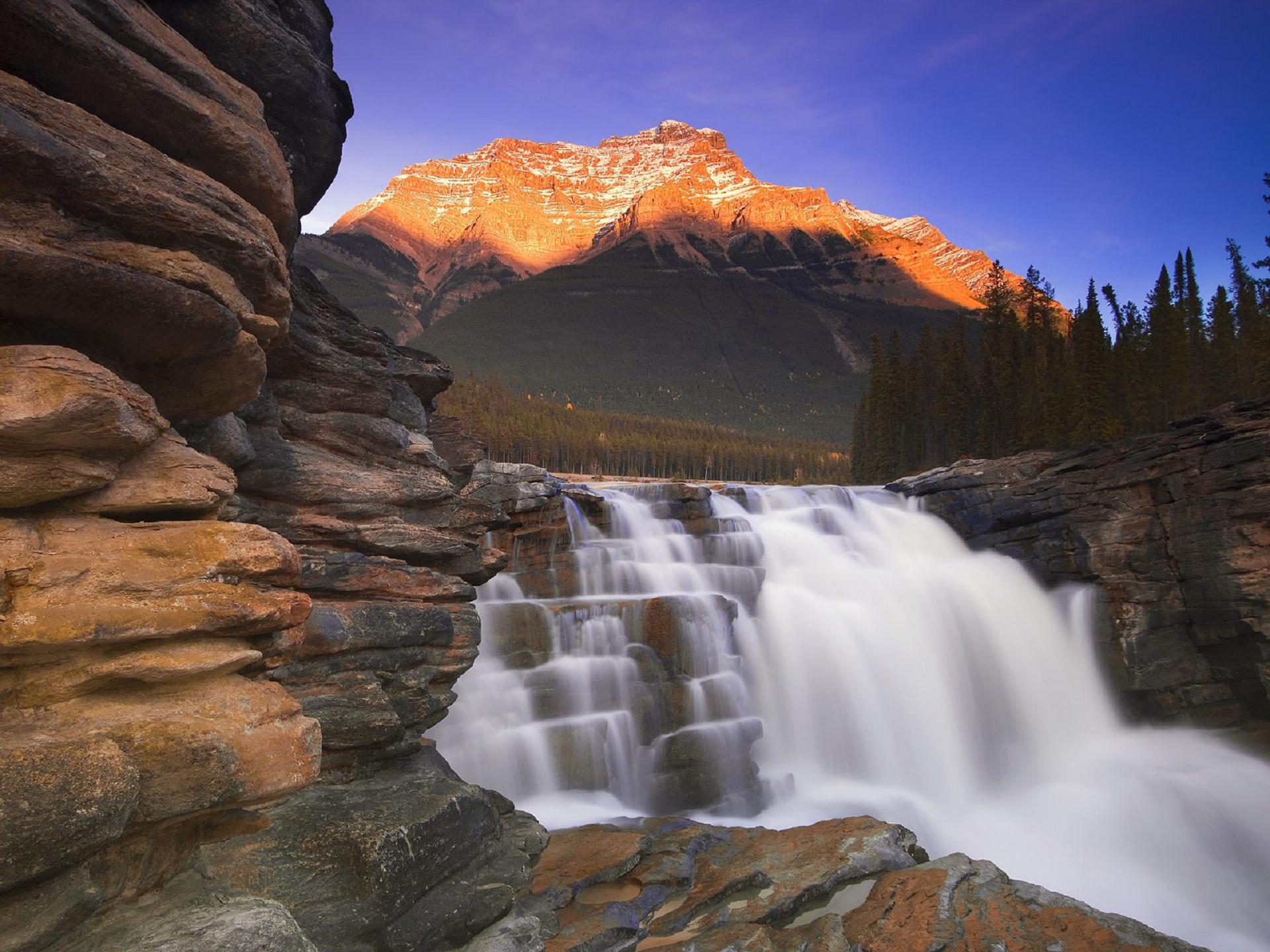 Athabasca Falls At Dusk Images