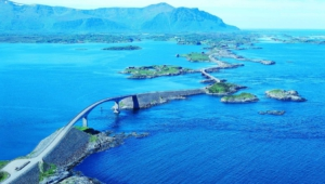 Atlantic Ocean Road In Norway Background