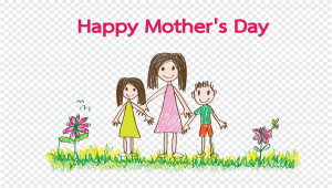 Happy Mothers Day Card With Family Cartoons