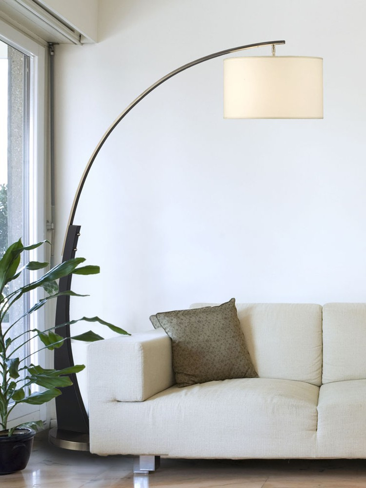 Arc floor lamp drum shade images for Floor lamps for living room