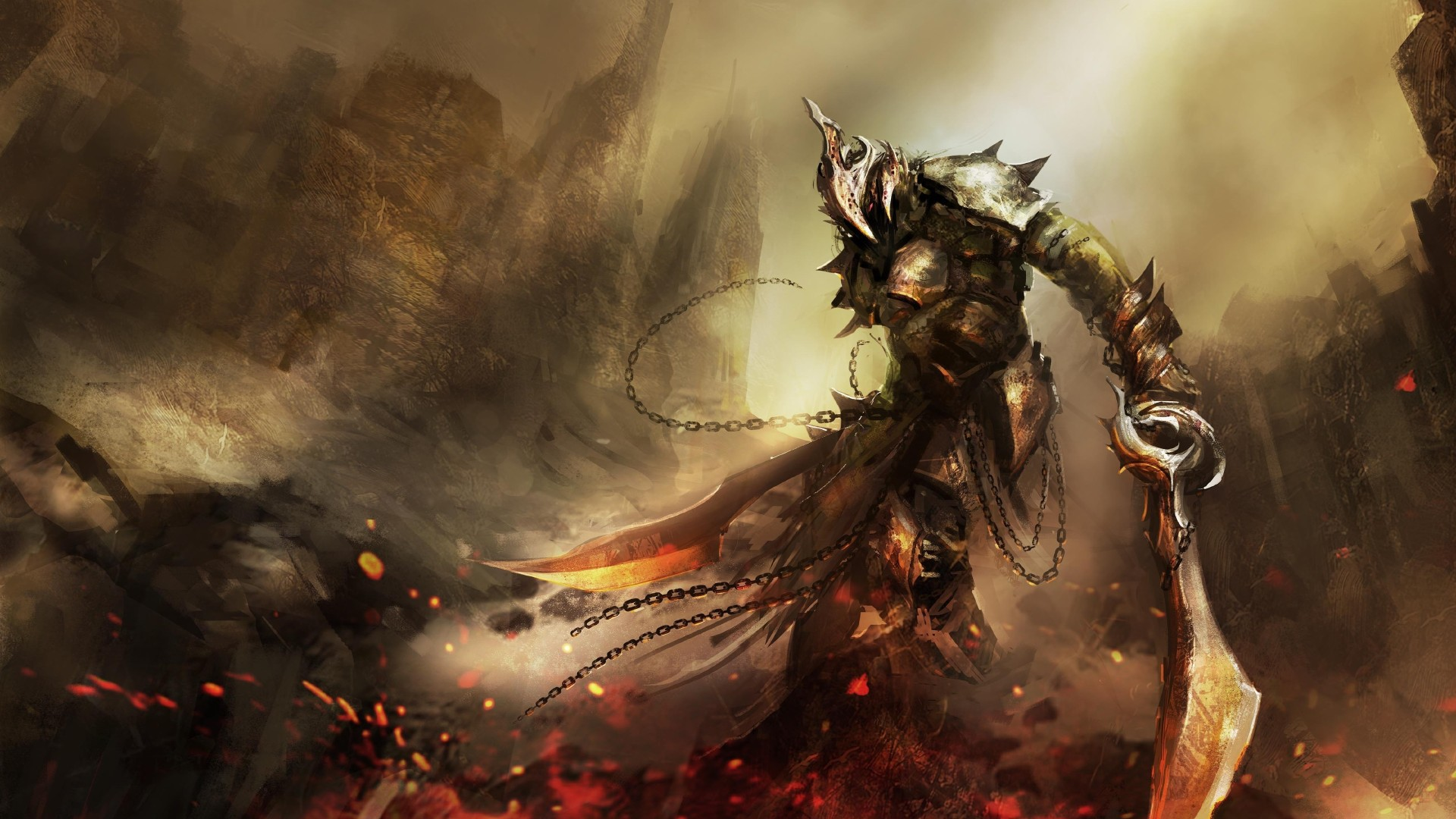 Wallpaper Dark Souls II game rpg sword armor warrior sparks