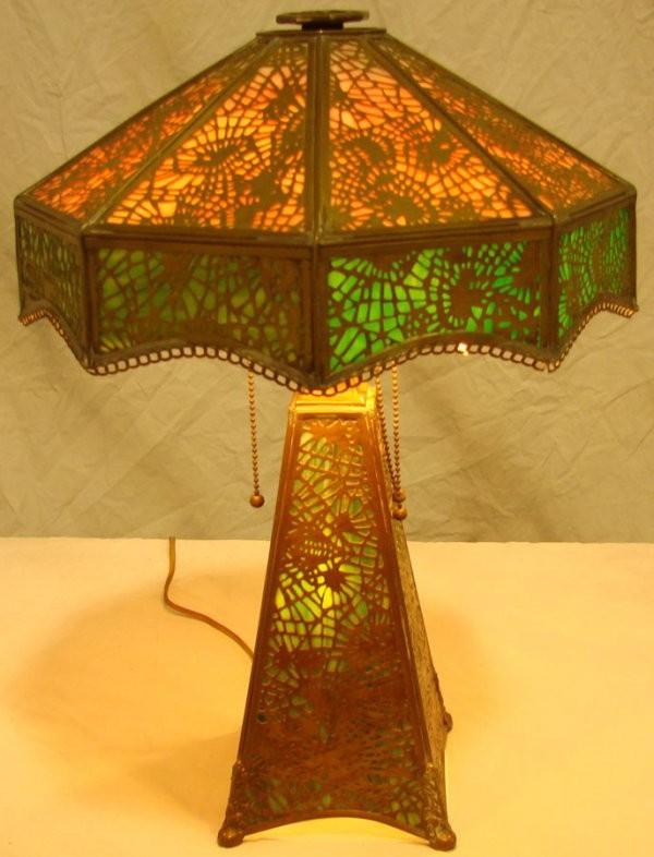 Tiffany Slag Glass Antique Desk Lamps