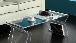 Acrylic Coffee Table With Shelf Legs