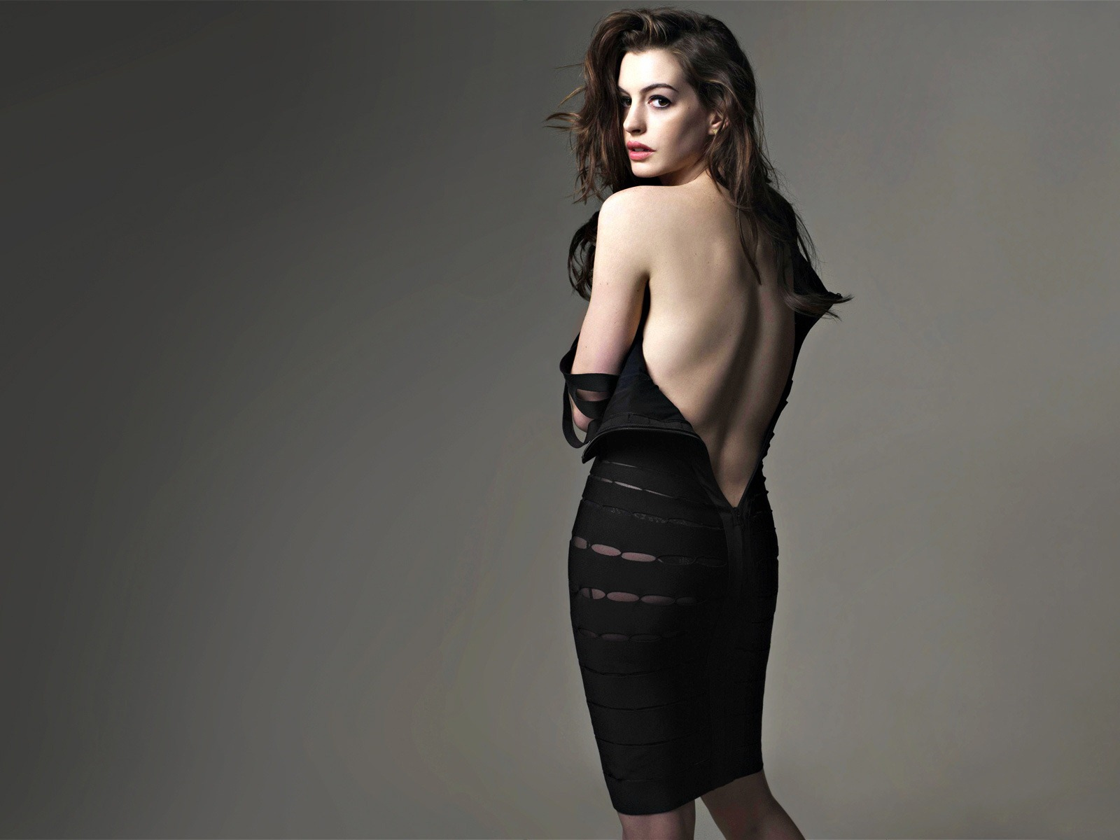 NYBrunettes    Blog Archive    Anne Hathaway Sexy in Black  Anne Hathaway shows just how  vanilla  she is in a sexy photo shoot for