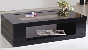 Black Coffee Table With Shelf