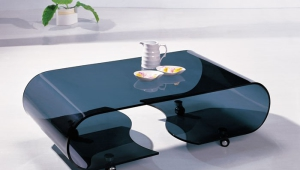 Black Glossy Coffee Table On Wheels