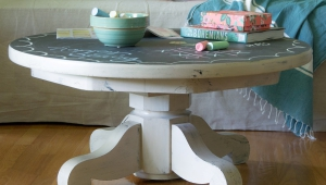 Chalkboard Top Pedestal Coffee Table