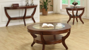 Cherry Wood Coffee Table Set