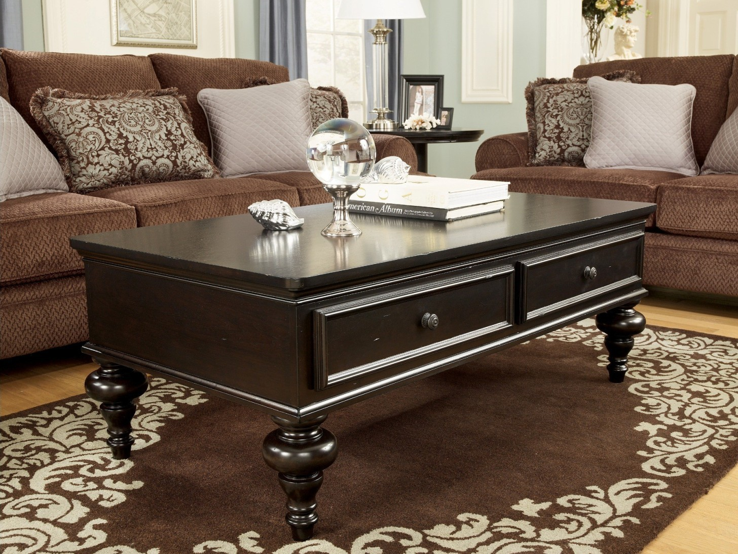 Dark Wooden Coffee Table ~ Classic dark wood coffee table