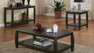 Coffee Table Set With Dark Wood Finish