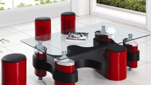 Coffee Table With Bright Stools