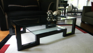 Contemporary Black Lacquer Coffee Table