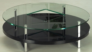 Contermporary Glass Top Round Coffee Table