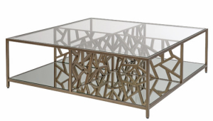 Cracked Ice Contemporary Glass Coffee Table