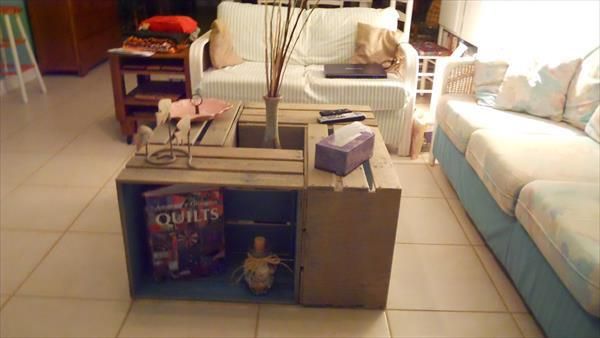 Crate Coffee Table With Shelves
