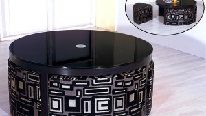 Dark Coffee Table With Stools