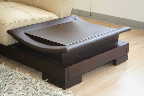 Dark Leather Coffee Table