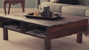 Dark Rustic Wood Coffee Table