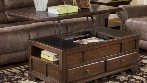 Dark Wood Coffee Table Chest With Sliding Top
