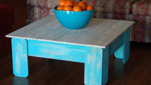 Distressed White And Blue Coffee Table
