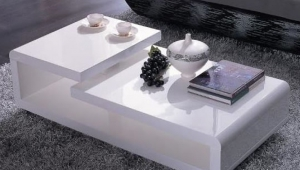 Double Level White Lacquer Coffee Table