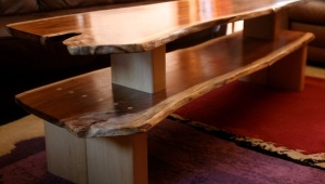 Double Wood Slab Coffee Table