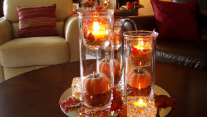 Fall Centerpiece For Coffee Table With Candles On Round Mirror