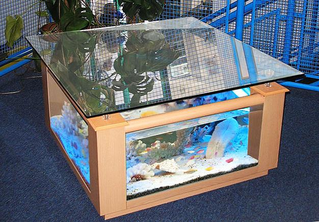 Fish Tank Coffee Table With Mirror Cover