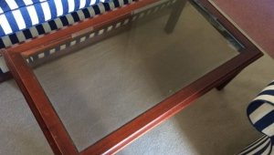 Glass Top Coffee Table With Redwood Frame