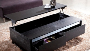 Low Black Coffee Table With Sliding Top