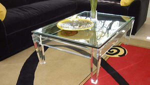 Lucite Coffee Table With Mirrored Top