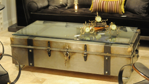Metal Trunk Coffee Table With Glass Top