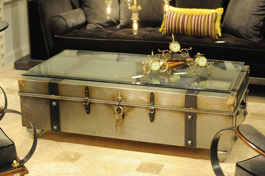 Metal Trunk Coffee Table with Glass Top Black Steamer Trunk Coffee Table