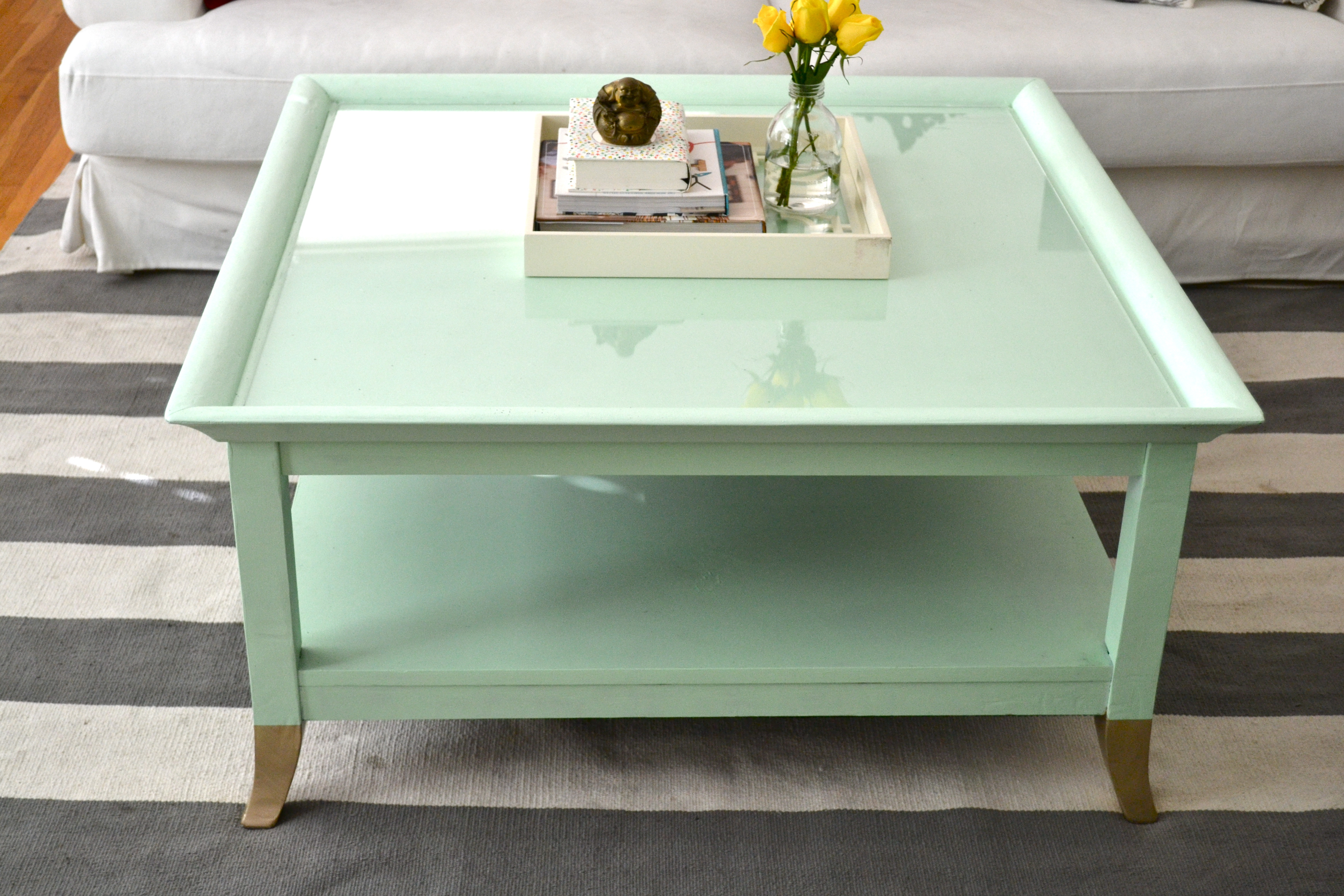Painted coffee table design images photos pictures mint painted coffee table geotapseo Image collections