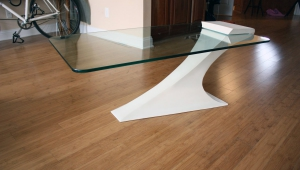 Modern Glass Coffee Table With Massive Leg