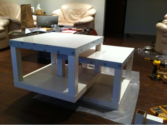 Modified ikea lack coffee table for Table basse ikea lack