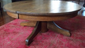 Oak Round Pedestal Coffee Table
