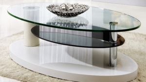 Oval Glass Coffee Table With Shelf