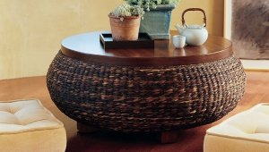 Rattan Coffee Table With Wooden Top