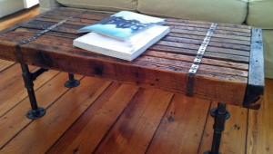 Reclaimed Wood Coffee Table With Metal Legs
