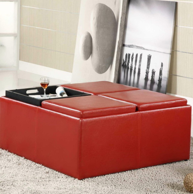 Red Leather Ottoman Coffee Table - Red Leather Coffee Table CoffeTable