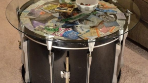 Round Glass Display Coffee Table Made Of Drum