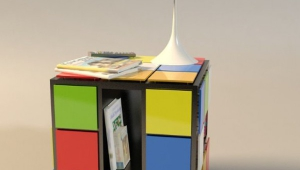 Rubiks Cube Funky Coffee Table With Shelf