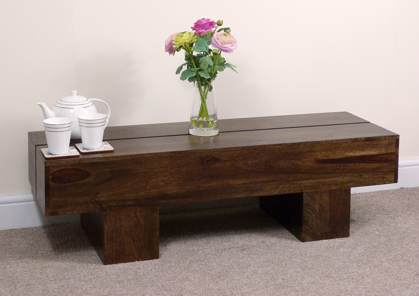Dark Wooden Table ~ Rustic dark wood coffee table
