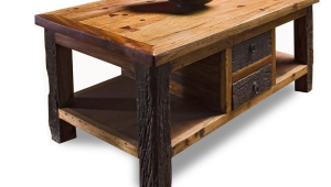 Rustic End Table With Drawers