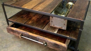 Rustic Wood And Metal Coffee Table