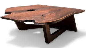 Shaped Wood Slab Coffee Table